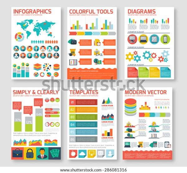 Flat Infographic Elements Set Colorful Template Stock