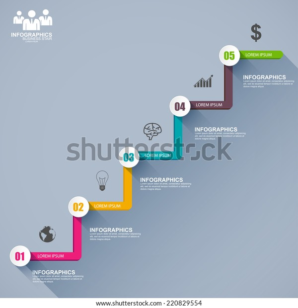 Flat Infographics Business Stair Step Success Stock Vector