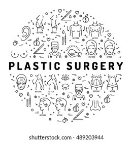 Flat infographics Plastic Surgery, space for text. Medical linear icons: breast augmentation, liposuction, face and body cosmetology. Vector Concept thin line symbols Beauty and Health