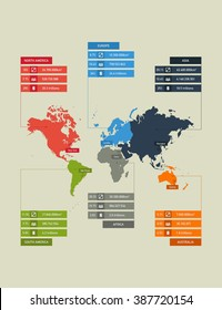 Flat infographics template map of continents. Vector illustration.