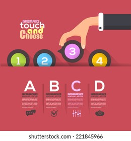 Flat Infographics Template and Web Elements - Business, Marketing Touch and Choose Concept Vector Design on Red Background