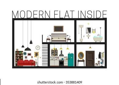 Flat inside interior. Vector modern flat with set of basic rooms. Modern building in cut with furniture.