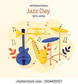 Flat international jazz day illustration Vector illustration.