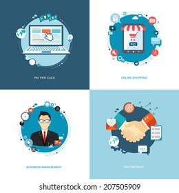 Flat internet banners set. Team management, online shopping, partnership, pay per click illustrations. Eps10