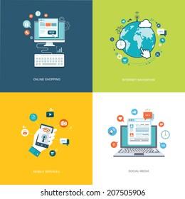 Flat internet technologies banners set. Social media, internet navigation, online shopping, mobile services illustrations. Eps10