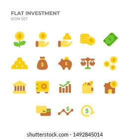 Flat Investment Icon Set with Flat Style