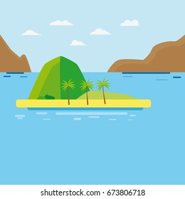 Flat island with palm tree and mountains in the middle with sea and waves as a vacation