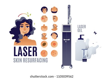 Flat isolated acne keratosis extremely dry skin, rashes reasons see dermatologist vector skin problem young girl icon and laser skin resurfacing, girl after removal of color tattoos by laser apparatus