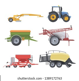 Flat isolated agricultural machine set Blue tractor mower spreader sprayer seeder and square baler