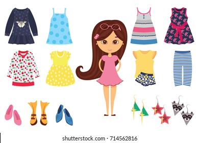 3211cb064 Flat isolated baby girl fashion icon set with stylish little girl and his  different clothes vector