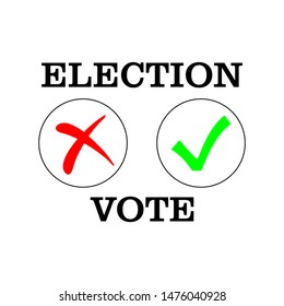 Flat isolated election vote sign. election vintage background. no and yes vote ticks vector