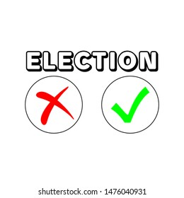 Flat isolated election vote sign. election vintage background. red no and green yes ticks vector