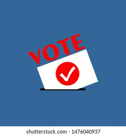 Flat isolated election vote sign. election vintage background. red VOTE text on a  white and blue background for election day and campaign