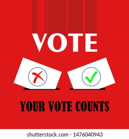 Flat isolated election vote sign. election vintage background