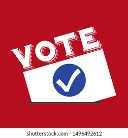 Flat isolated election vote sign. election vintage background with voting envelope and check mark sign
