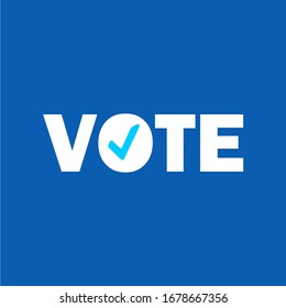 Flat isolated election vote text vintage