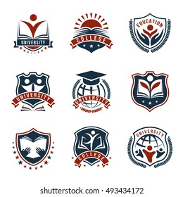 Flat isolated emblems set for college and university with academic knoweledge symbols painted red and blue vector illustration