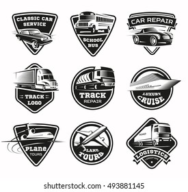 Flat isolated geometric logos set of various shape with different transport modes for traffic service tourism vector illustration