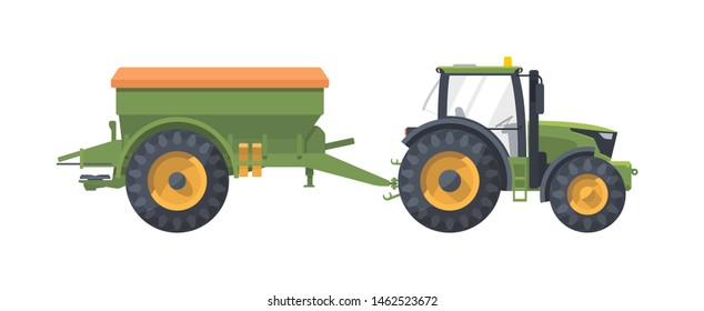 Flat isolated green tractor with fertilizer spreader