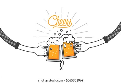 Flat isolated vector illustration of drinking beers, cheers, clinking glasses, party. Two friend are drinking beers in plaid shirts. Party celebration in a pub on white background. Cheers mate.