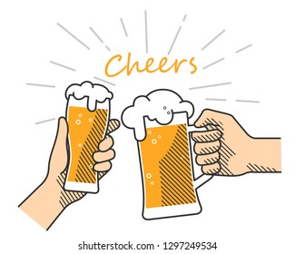 Flat isolated vector illustration of drinking beers.  Two hands holding and clinking with glass and mug beer, cheers. Party celebration in a pub on white background. Vector illustration