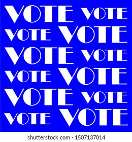Flat isolated vector vote text. election vintage background banner