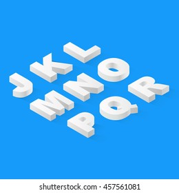 Flat isometric 3d font alphabet with drop shadow.