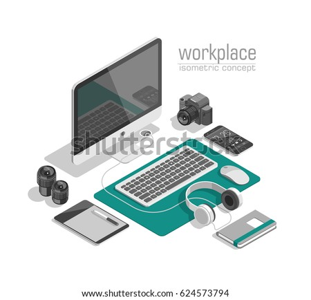 flat isometric 3 d technology designer workspace のベクター画像素材