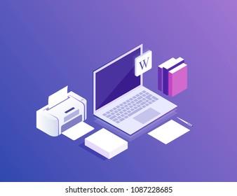 Flat isometric 3d workspace concept vector. Devices set on ultraviolet background. Laptop, printer, paper. Modern vector illustration.