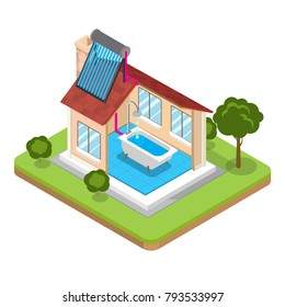 Flat isometric alternative energy efficient building vector illustration. 3d isometry eco friendly architecture concept. Solar sun water heating SWH roof, thermal collector, bathroom, house