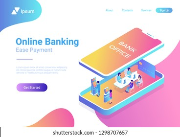 Flat isometric Bank Office interior with managers and clients inside smartphone, under screen panel vector illustration. 3d isometry Online Banking business concept.
