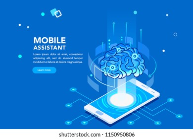 Flat isometric banner, ai of the future. Smartphone or geometric laptop mind, machine application with assistant connection. Pc for learning. Engineering technology, artificial intelligence concept.