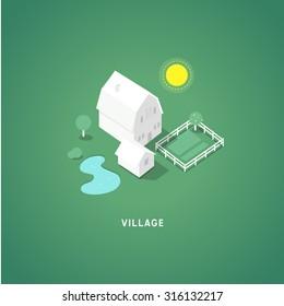 Flat isometric buildings. Village. 3d isometric symbols. Vector eps10