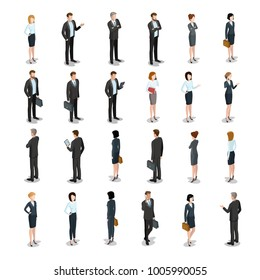 Flat isometric business people characters vector icon set collection. 3d isometry male and female persons in strict elegant office clothes. Businessmen and businesswomen. Front back view, devices