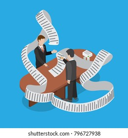 Flat isometric businessman deal payment overdue, budget bill delay conceptual. 3d isometry business concept web vector illustration. Businessmen showing big bill signing agreement
