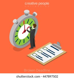 Flat isometric Businessman move clock hands, project clipboard checklist vector illustration. Broken deadline business 3d isometry concept.