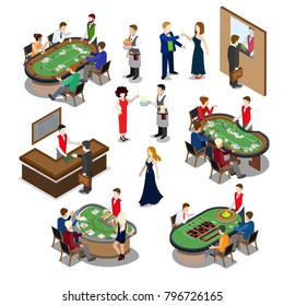 Flat isometric casino interior with poker and roulette tables vector illustration. 3d isometry gambling business concept. Bartender, players, shuffler characters.