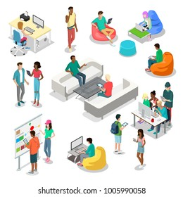 Flat isometric casual fashion stylish young people hipster student characters vector icon set. 3d isometry coworking presentation meeting office. Young male female, girl, guy, students studying