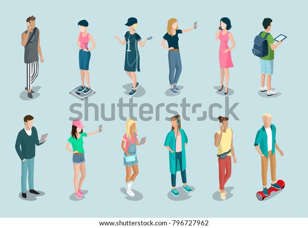Flat Isometric Casual Fashion Stylish Young Stock Vector