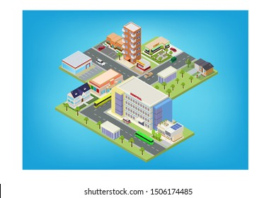 Flat isometric city megalopolis blocks with building, roads and crossroads illustrations