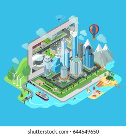 Flat isometric City and nature landscapes on laptop vector illustration. 3d isometry Virtual world model concept.