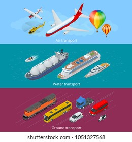 Flat isometric city transport icon set. Air, land and sea transport.