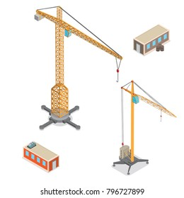 Flat isometric construction crane vector objects illustration set. 3d isometry building industry special machinery city concept.