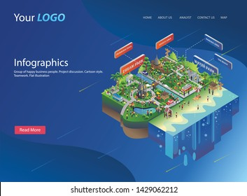 flat isometric design city of environment waterpark | Perspective panorama of the landscape of industrial
