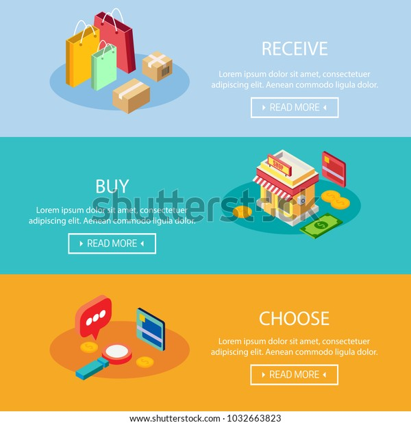 Flat Isometric Design Online Store Banner Stock Vector Royalty Free 1032663823
