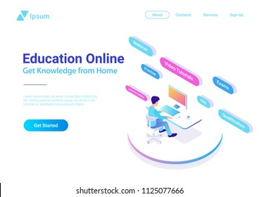 Flat Isometric Education Online vector design colorful concept. Man sitting learning working with Computer.