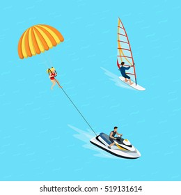 Flat isometric female windsurfer and parasailing sportsman vector illustration. 3d isometry Water extreme sports and activity concept.