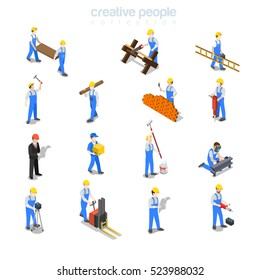 Flat isometric foreman, builders welding, carrying ladder, making brickwork, holding hummer set vector illustration. 3d isometry Construction professionals concept.