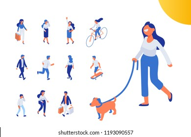 Flat isometric girl walking with dog. Isometric people vector set. Flat vector characters isolated on white background.