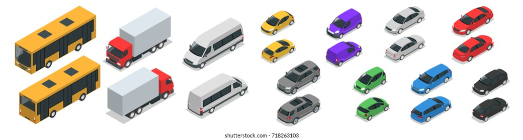 Flat isometric high-quality city transport car icon set. Van, cargo truck, off-road, bike, mini, sports car. Set of urban public and freight vehicle for infographics